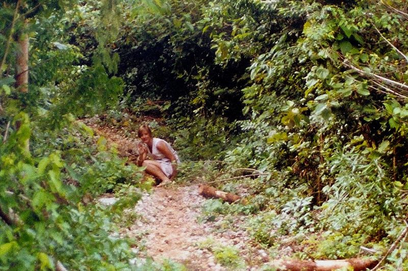 Kay Peeing in Jungle